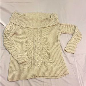Winter White WHBM off shoulder sweater